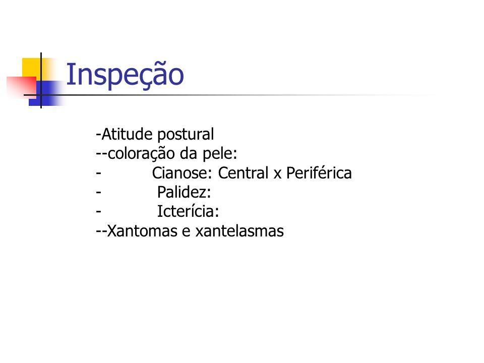 Inspeção -Atitude postural --coloração da pele: - Cianose: Central x Periférica - Palidez: - Icterícia: --Xantomas e xantelasmas