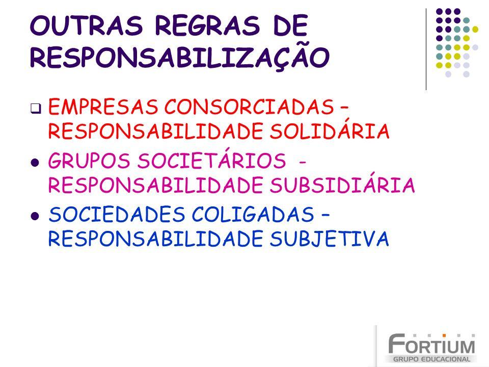 OUTRAS REGRAS DE RESPONSABILIZAÇÃO EMPRESAS CONSORCIADAS – RESPONSABILIDADE SOLIDÁRIA GRUPOS SOCIETÁRIOS - RESPONSABILIDADE SUBSIDIÁRIA SOCIEDADES COL