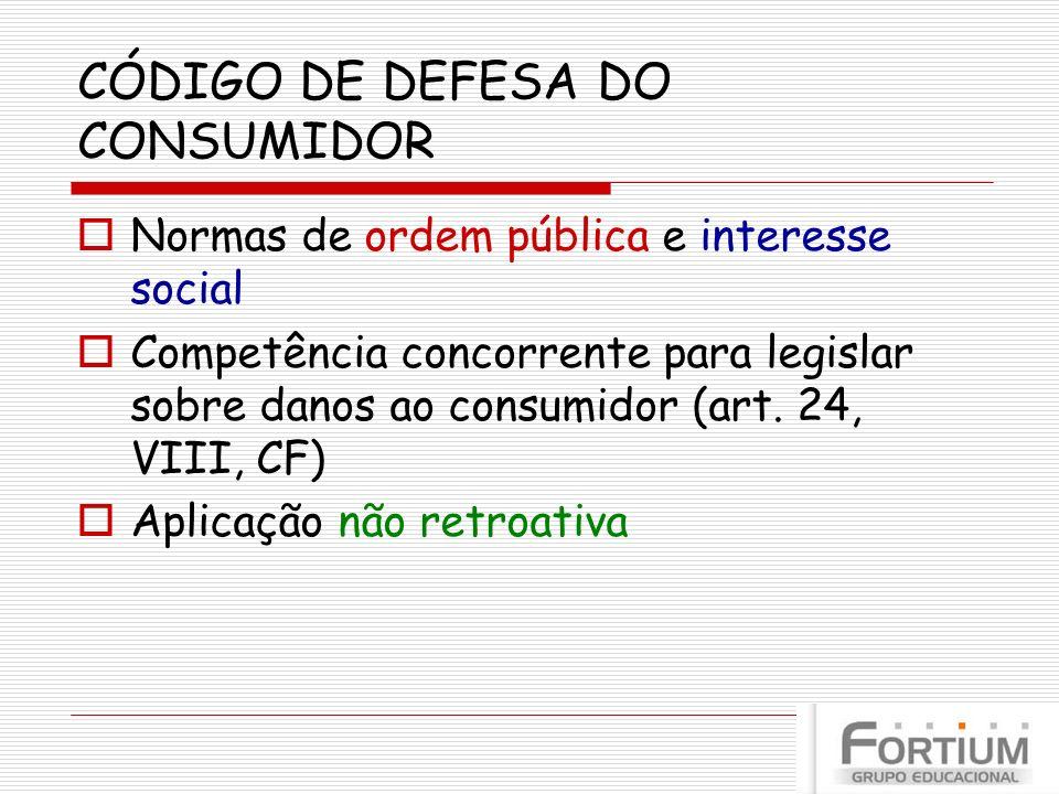 CÓDIGO DE DEFESA DO CONSUMIDOR Normas de ordem pública e interesse social Competência concorrente para legislar sobre danos ao consumidor (art. 24, VI