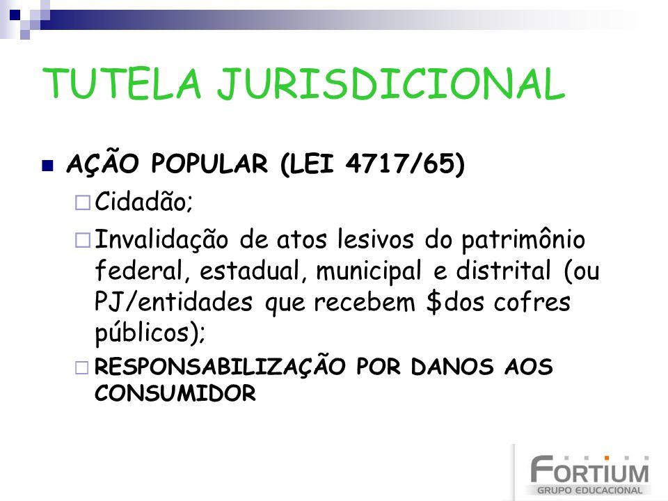 TUTELA JURISDICIONAL AÇÃO POPULAR (LEI 4717/65) Cidadão; Invalidação de atos lesivos do patrimônio federal, estadual, municipal e distrital (ou PJ/ent
