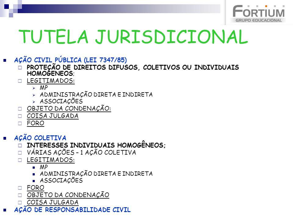 TUTELA JURISDICIONAL AÇÃO CIVIL PÚBLICA (LEI 7347/85) PROTEÇÃO DE DIREITOS DIFUSOS, COLETIVOS OU INDIVIDUAIS HOMOGENEOS PROTEÇÃO DE DIREITOS DIFUSOS,
