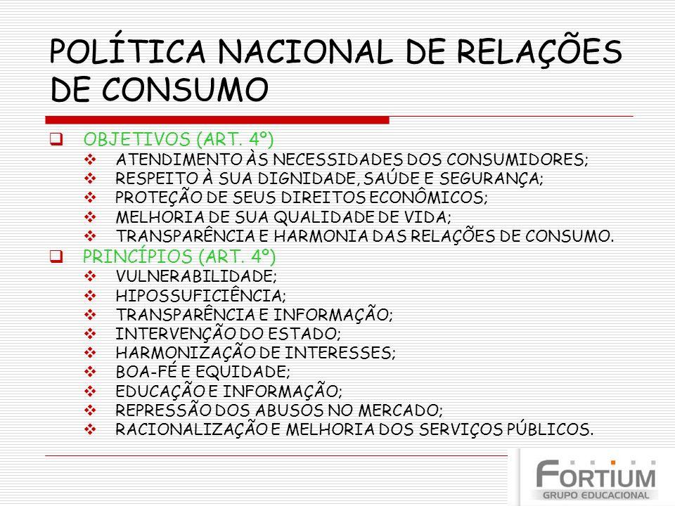 POLÍTICA NACIONAL DE RELAÇÕES DE CONSUMO OBJETIVOS (ART. 4º) ATENDIMENTO ÀS NECESSIDADES DOS CONSUMIDORES; RESPEITO À SUA DIGNIDADE, SAÚDE E SEGURANÇA
