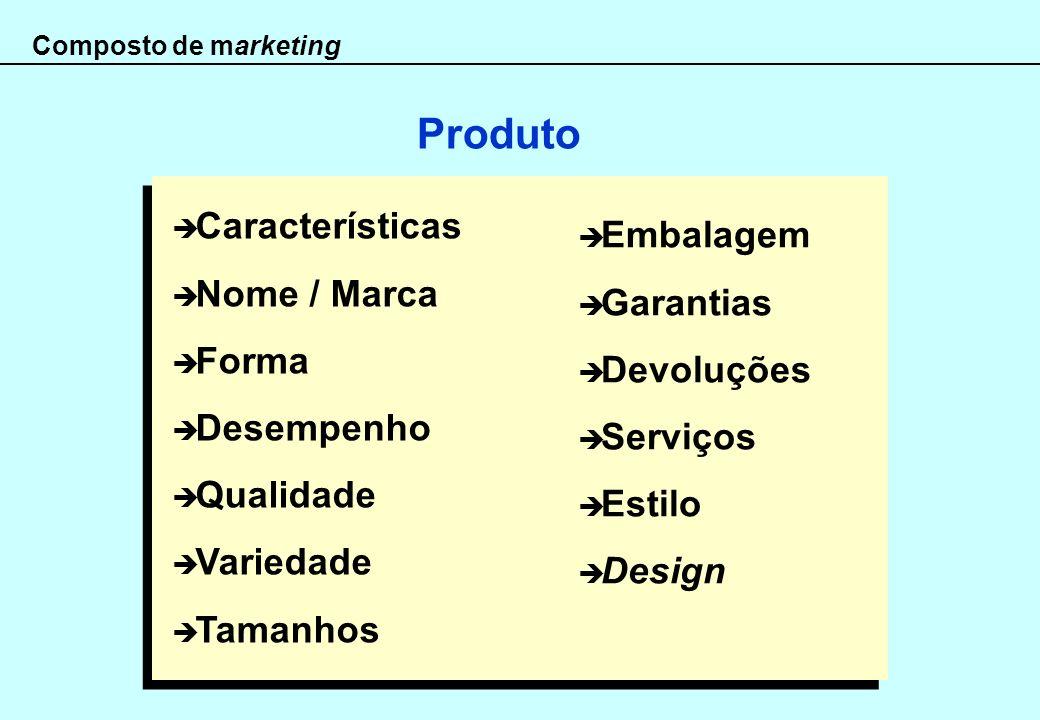 Composto de marketing Características Nome / Marca Forma Desempenho Qualidade Variedade Tamanhos Produto Embalagem Garantias Devoluções Serviços Estil