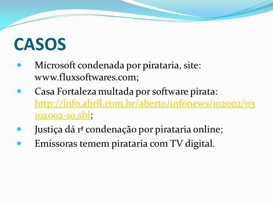 CASOS Microsoft condenada por pirataria, site: www.fluxsoftwares.com; Casa Fortaleza multada por software pirata: http://info.abril.com.br/aberto/info