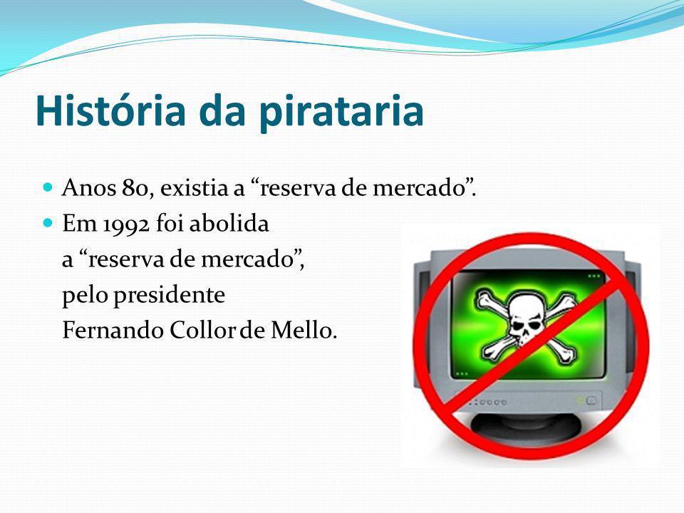 História da pirataria Principais fatores que aumentaram a pirataria do software: - Gravador de CD e DVD; - Pen Drives; - Mp3; - Internet: facilitadora para download de softwares;