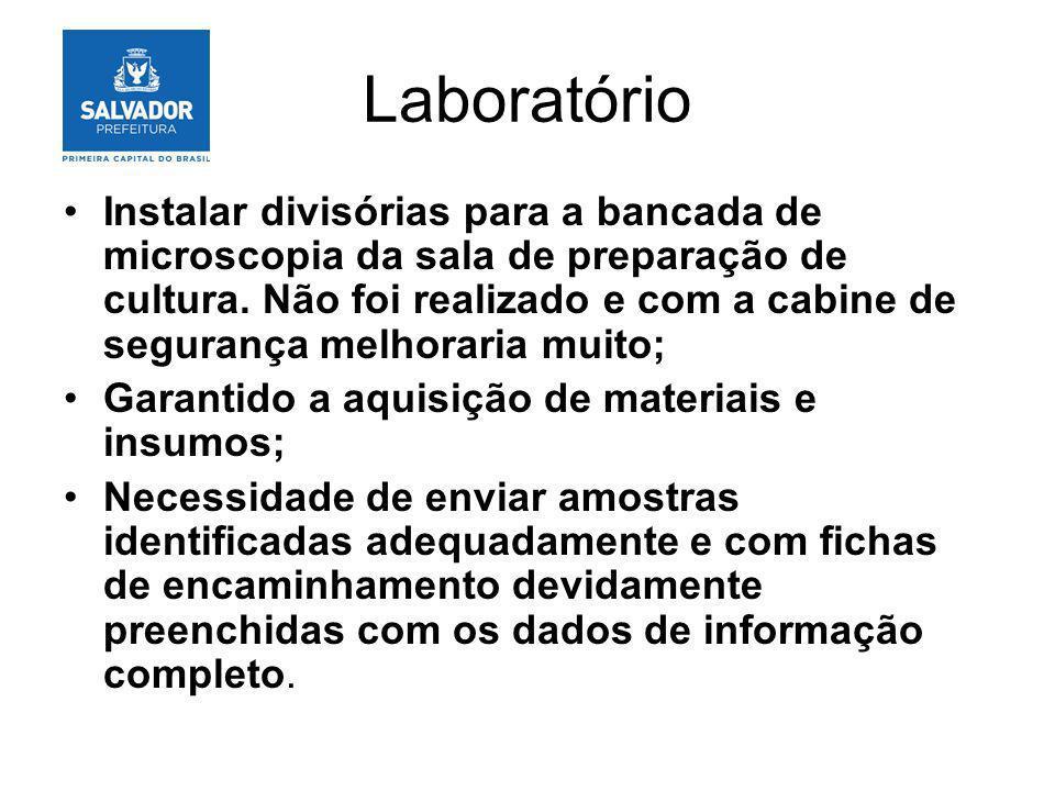 Laboratório Instalar divisórias para a bancada de microscopia da sala de preparação de cultura. Não foi realizado e com a cabine de segurança melhorar