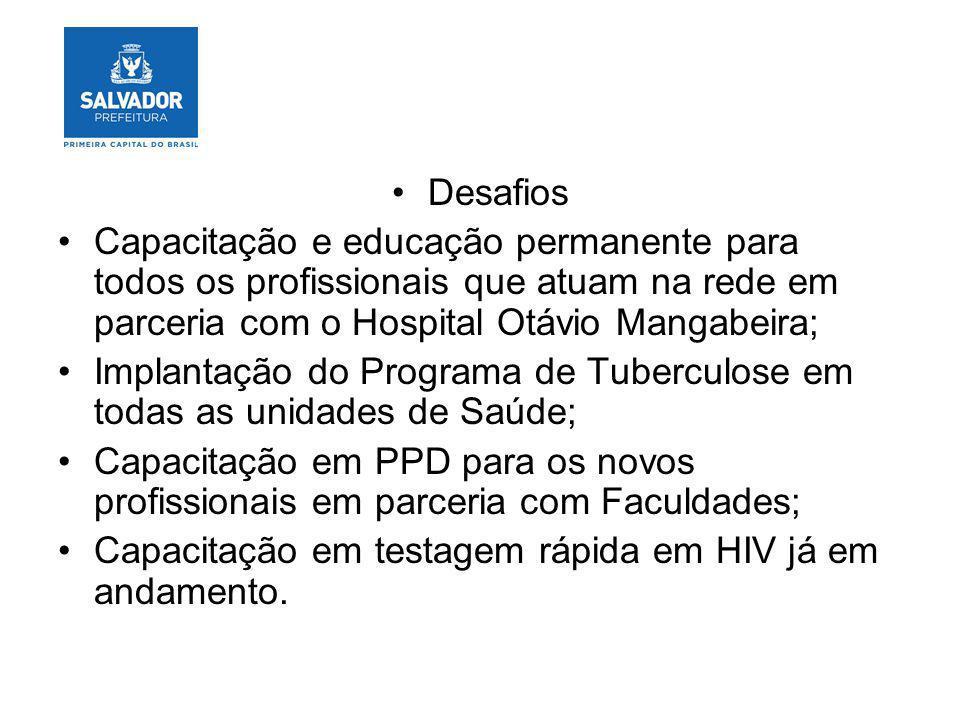 Desafios Capacitação e educação permanente para todos os profissionais que atuam na rede em parceria com o Hospital Otávio Mangabeira; Implantação do