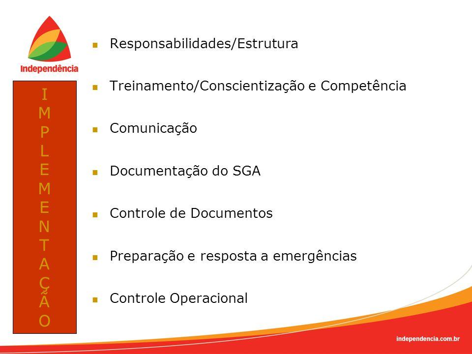 Responsabilidades/Estrutura Treinamento/Conscientização e Competência Comunicação Documentação do SGA Controle de Documentos Preparação e resposta a e