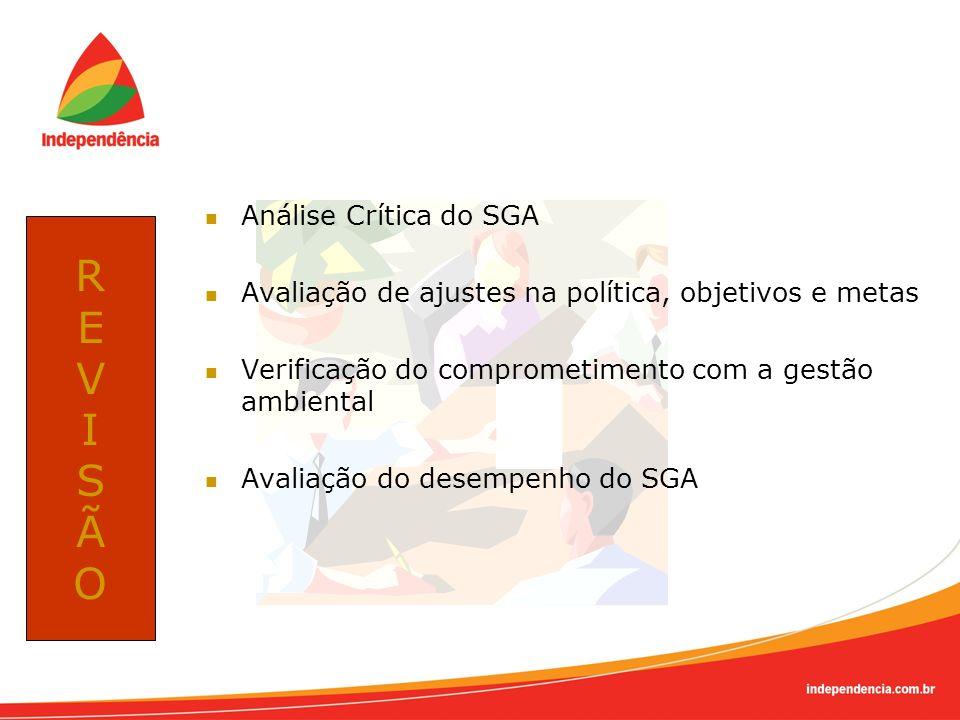Análise Crítica do SGA Avaliação de ajustes na política, objetivos e metas Verificação do comprometimento com a gestão ambiental Avaliação do desempen