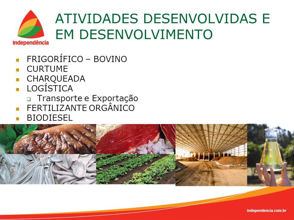 ATIVIDADES DESENVOLVIDAS E EM DESENVOLVIMENTO FRIGORÍFICO – BOVINO CURTUME CHARQUEADA LOGÍSTICA Transporte e Exportação FERTILIZANTE ORGÂNICO BIODIESE