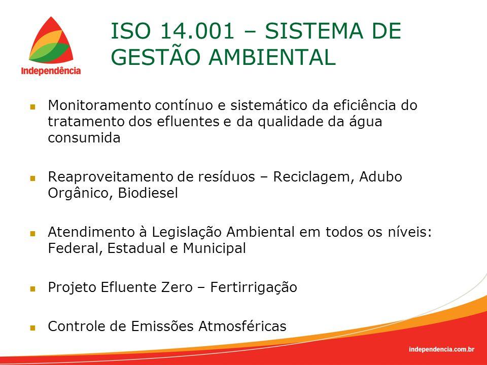 ISO 14.001 – SISTEMA DE GESTÃO AMBIENTAL Monitoramento contínuo e sistemático da eficiência do tratamento dos efluentes e da qualidade da água consumi