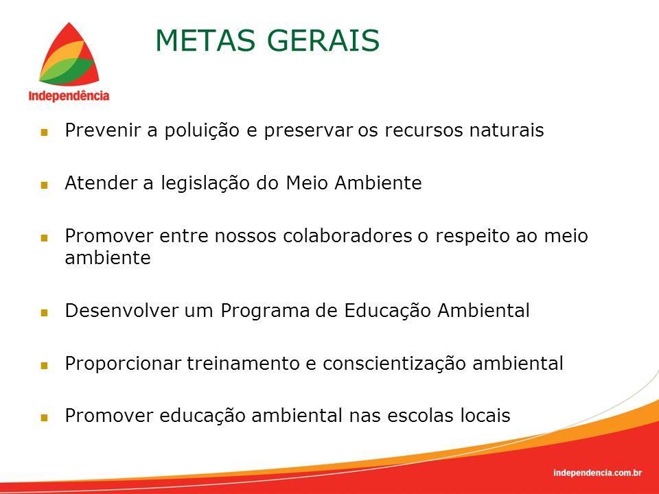METAS GERAIS Prevenir a poluição e preservar os recursos naturais Atender a legislação do Meio Ambiente Promover entre nossos colaboradores o respeito