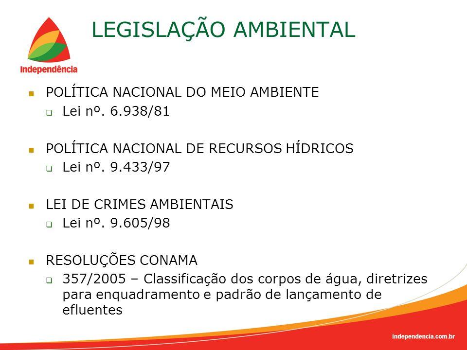 LEGISLAÇÃO AMBIENTAL POLÍTICA NACIONAL DO MEIO AMBIENTE Lei nº. 6.938/81 POLÍTICA NACIONAL DE RECURSOS HÍDRICOS Lei nº. 9.433/97 LEI DE CRIMES AMBIENT