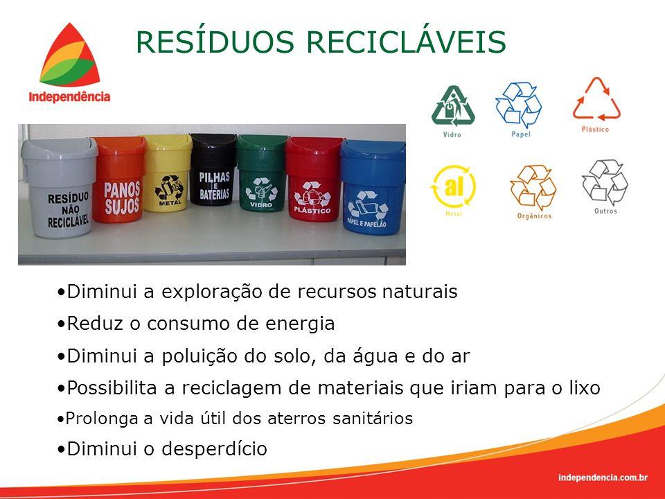 RESÍDUOS RECICLÁVEIS Diminui a exploração de recursos naturais Reduz o consumo de energia Diminui a poluição do solo, da água e do ar Possibilita a re