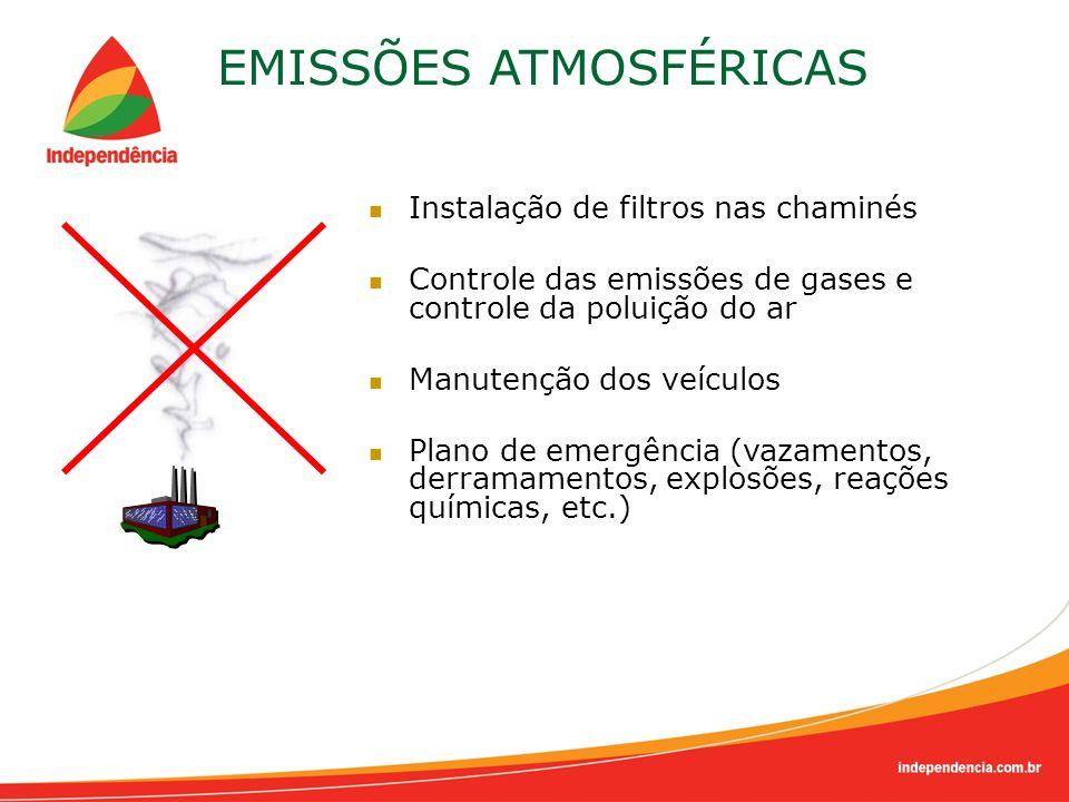 EMISSÕES ATMOSFÉRICAS Instalação de filtros nas chaminés Controle das emissões de gases e controle da poluição do ar Manutenção dos veículos Plano de