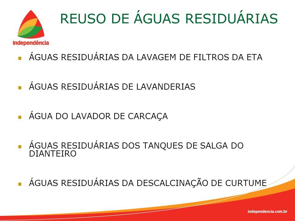 ÁGUAS RESIDUÁRIAS DA LAVAGEM DE FILTROS DA ETA ÁGUAS RESIDUÁRIAS DE LAVANDERIAS ÁGUA DO LAVADOR DE CARCAÇA ÁGUAS RESIDUÁRIAS DOS TANQUES DE SALGA DO D