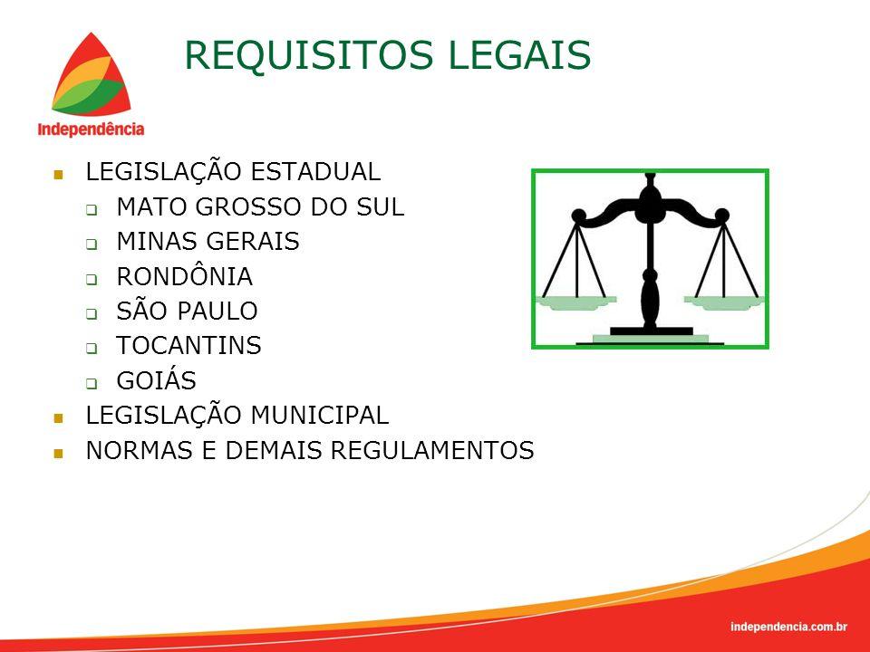 REQUISITOS LEGAIS LEGISLAÇÃO ESTADUAL MATO GROSSO DO SUL MINAS GERAIS RONDÔNIA SÃO PAULO TOCANTINS GOIÁS LEGISLAÇÃO MUNICIPAL NORMAS E DEMAIS REGULAME