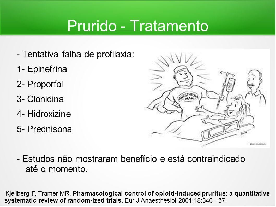 Prurido - Tratamento - Tentativa falha de profilaxia: 1- Epinefrina 2- Proporfol 3- Clonidina 4- Hidroxizine 5- Prednisona - Estudos não mostraram ben
