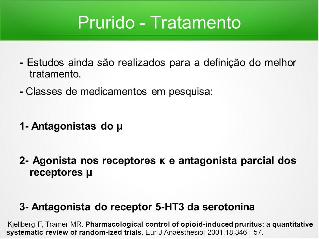 Prurido - Tratamento - Estudos ainda são realizados para a definição do melhor tratamento. - Classes de medicamentos em pesquisa: 1- Antagonistas do μ