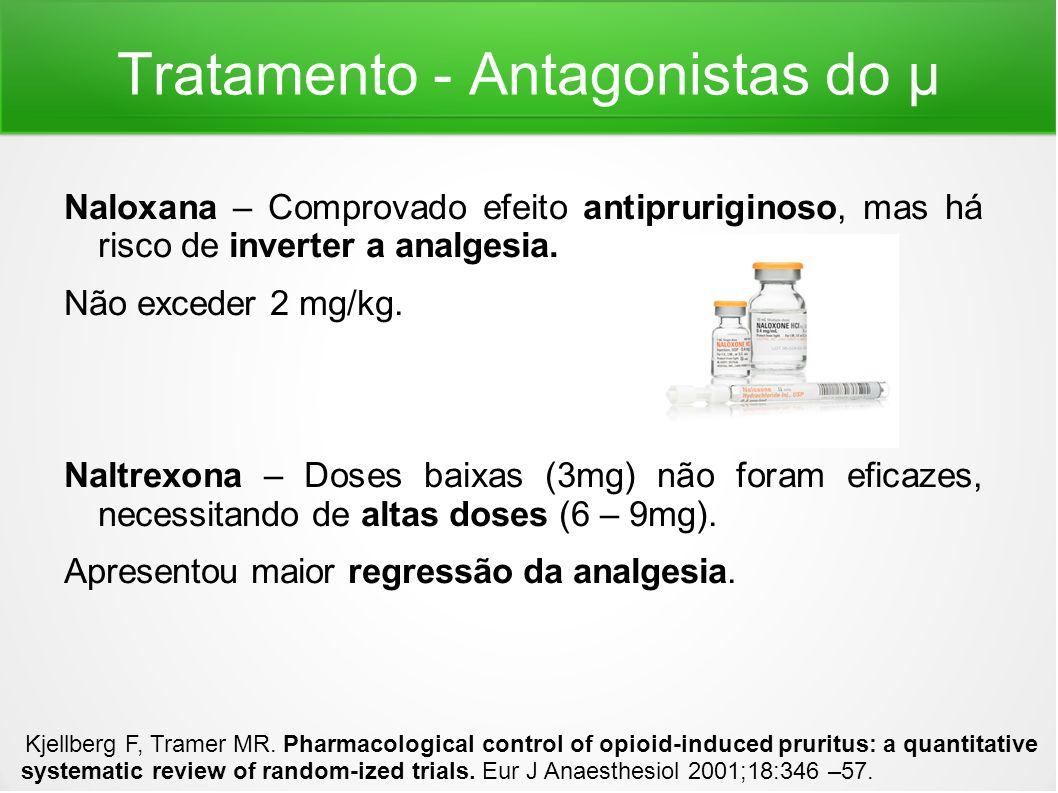 Tratamento - Antagonistas do μ Naloxana – Comprovado efeito antipruriginoso, mas há risco de inverter a analgesia. Não exceder 2 mg/kg. Naltrexona – D