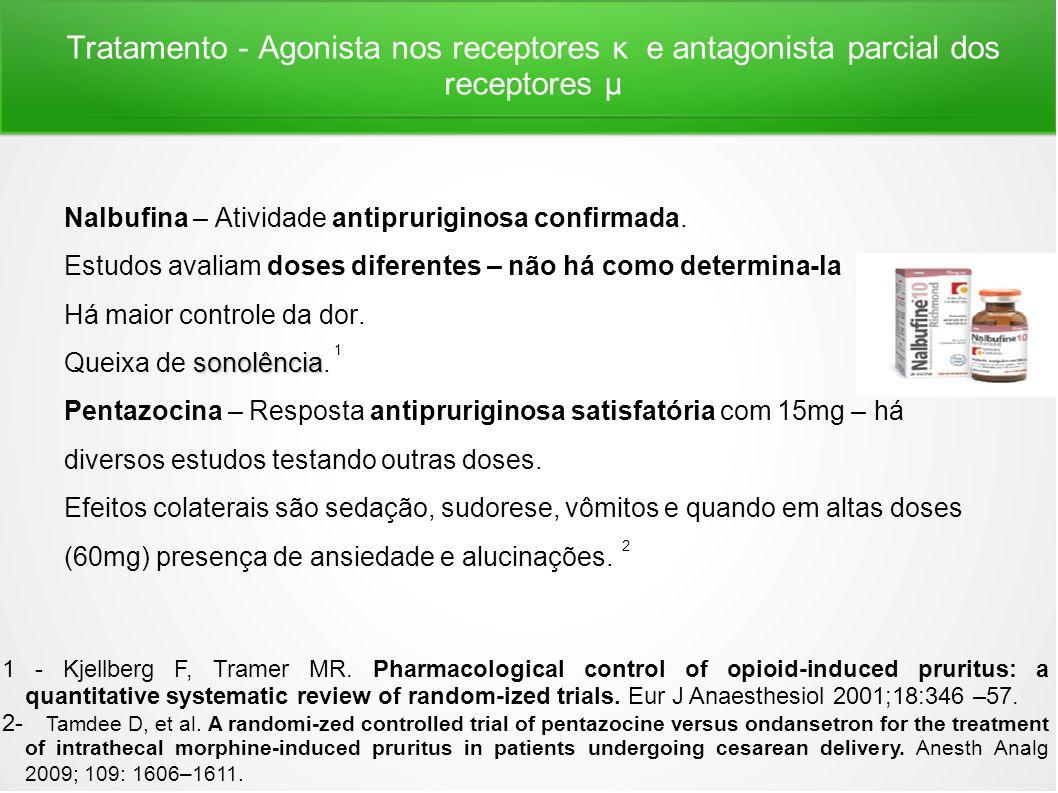 Tratamento - Agonista nos receptores κ e antagonista parcial dos receptores μ Nalbufina – Atividade antipruriginosa confirmada. Estudos avaliam doses