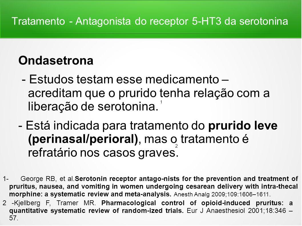 Tratamento - Antagonista do receptor 5-HT3 da serotonina Ondasetrona - Estudos testam esse medicamento – acreditam que o prurido tenha relação com a l