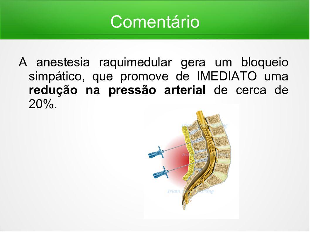 Comentário A anestesia raquimedular gera um bloqueio simpático, que promove de IMEDIATO uma redução na pressão arterial de cerca de 20%.