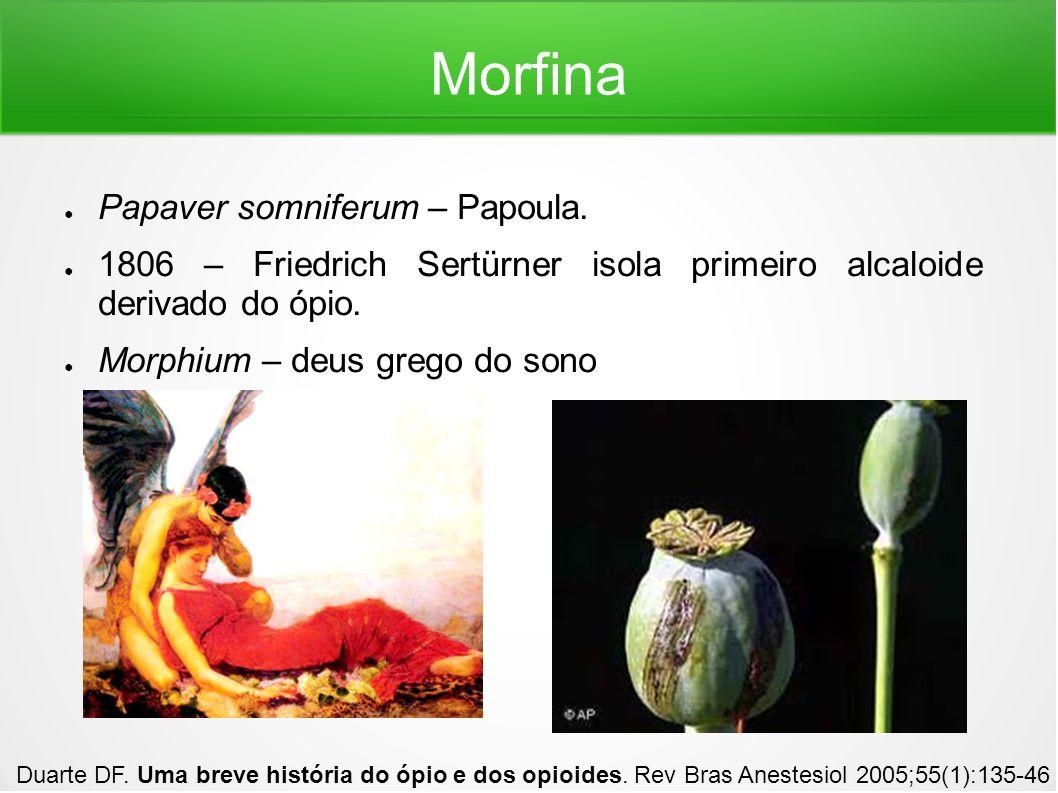 Morfina Papaver somniferum – Papoula. 1806 – Friedrich Sertürner isola primeiro alcaloide derivado do ópio. Morphium – deus grego do sono Duarte DF. U