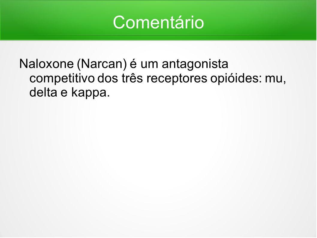 Comentário Naloxone (Narcan) é um antagonista competitivo dos três receptores opióides: mu, delta e kappa.