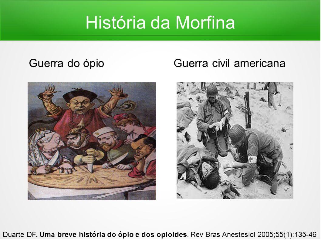 História da Morfina Guerra do ópio Guerra civil americana Duarte DF. Uma breve história do ópio e dos opioides. Rev Bras Anestesiol 2005;55(1):135-46