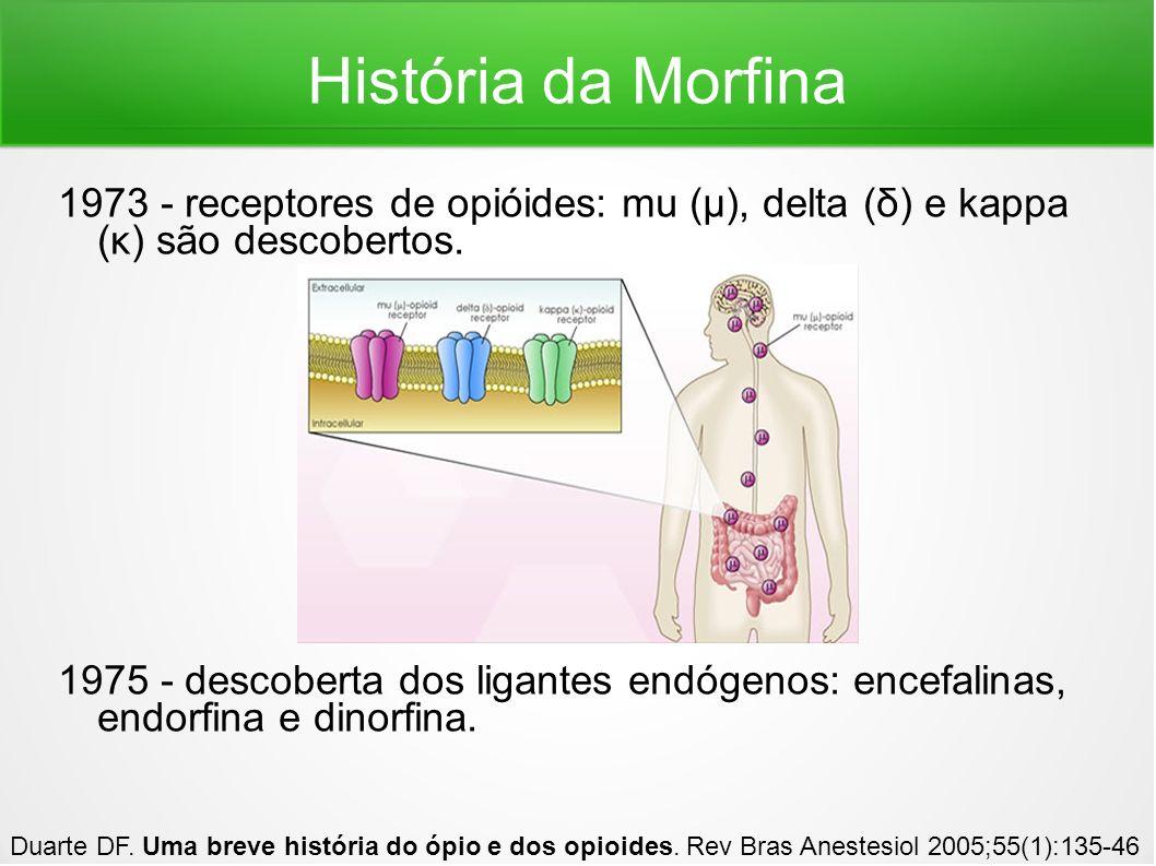 História da Morfina 1973 - receptores de opióides: mu (μ), delta (δ) e kappa (κ) são descobertos. 1975 - descoberta dos ligantes endógenos: encefalina