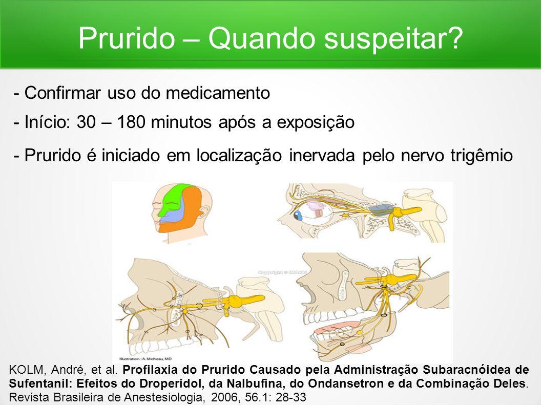 Prurido – Quando suspeitar? - Confirmar uso do medicamento - Início: 30 – 180 minutos após a exposição - Prurido é iniciado em localização inervada pe