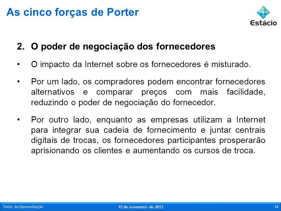 2.O poder de negociação dos fornecedores O impacto da Internet sobre os fornecedores é misturado. Por um lado, os compradores podem encontrar forneced