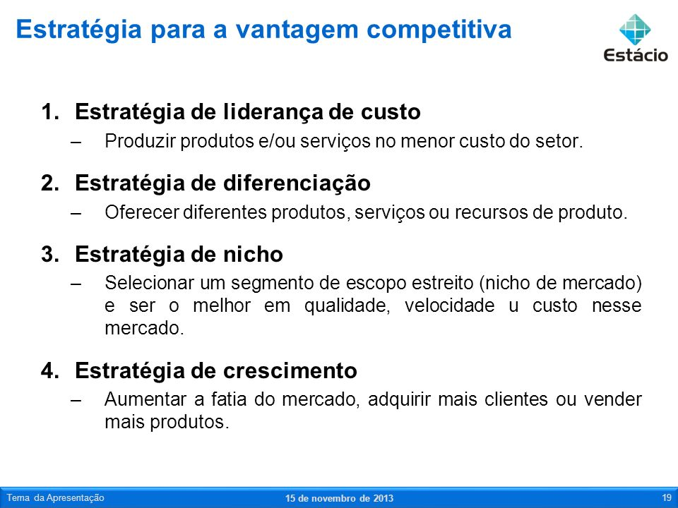 1.Estratégia de liderança de custo –Produzir produtos e/ou serviços no menor custo do setor. 2.Estratégia de diferenciação –Oferecer diferentes produt