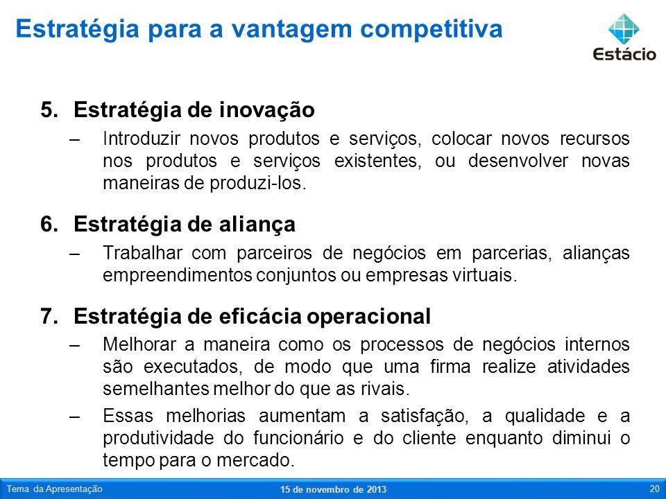 5.Estratégia de inovação –Introduzir novos produtos e serviços, colocar novos recursos nos produtos e serviços existentes, ou desenvolver novas maneir