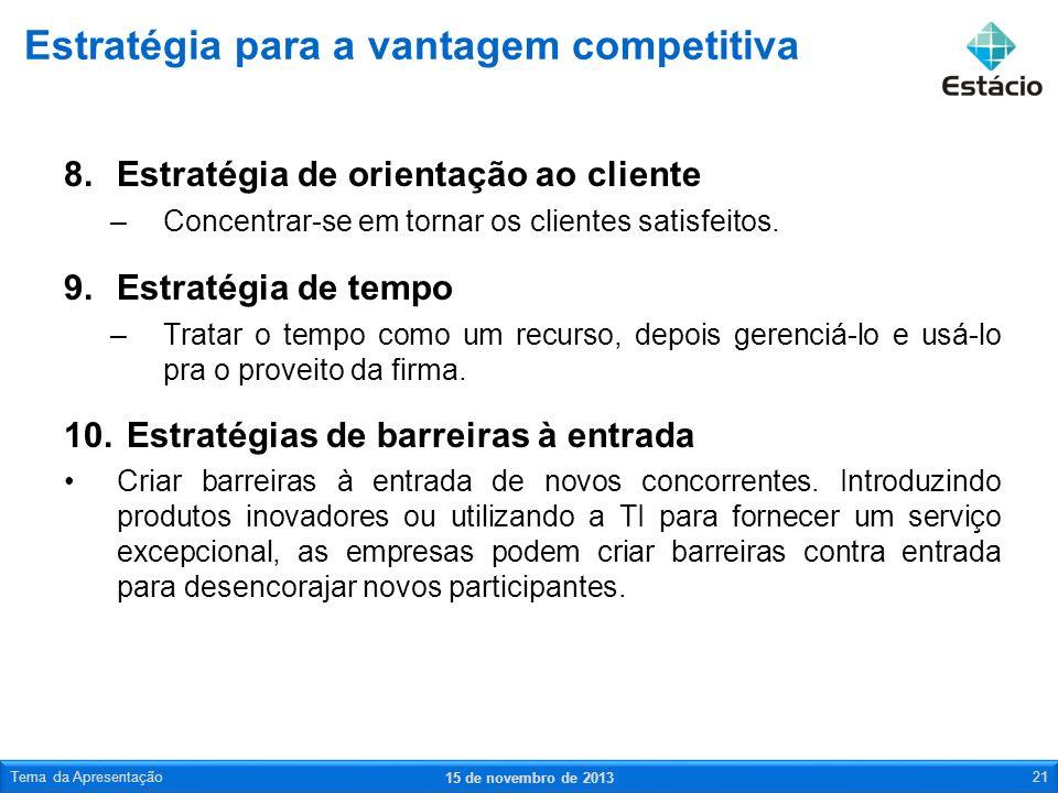 8.Estratégia de orientação ao cliente –Concentrar-se em tornar os clientes satisfeitos. 9.Estratégia de tempo –Tratar o tempo como um recurso, depois