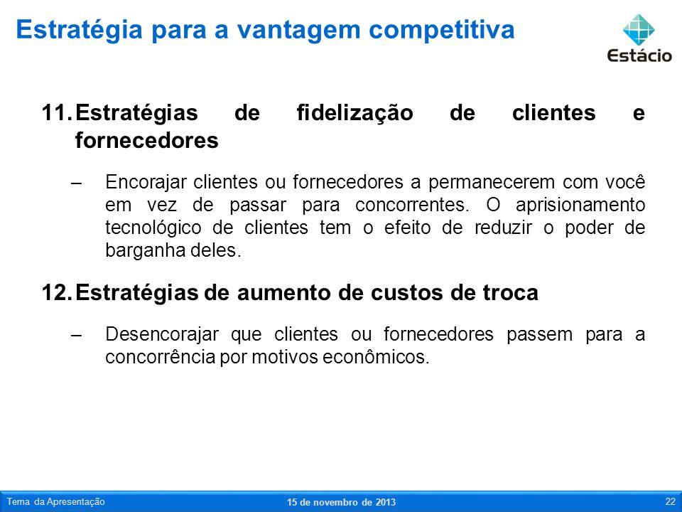 11.Estratégias de fidelização de clientes e fornecedores –Encorajar clientes ou fornecedores a permanecerem com você em vez de passar para concorrente