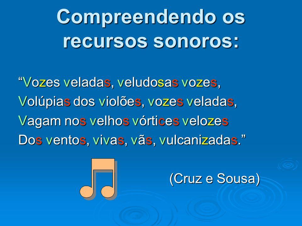 Compreendendo os recursos sonoros: Vozes veladas, veludosas vozes,Vozes veladas, veludosas vozes, Volúpias dos violões, vozes veladas, Vagam nos velho
