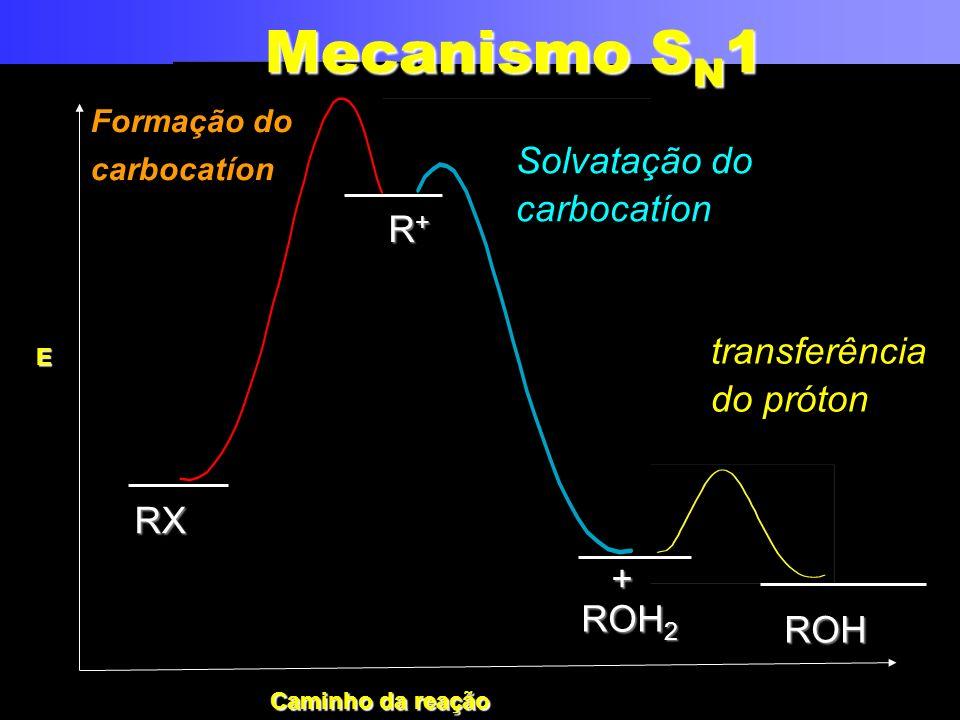 transferência do próton ROH 2 + Formação do carbocatíon R+R+R+R+ ROH Solvatação do carbocatíon RX Mecanismo S N 1 E Caminho da reação