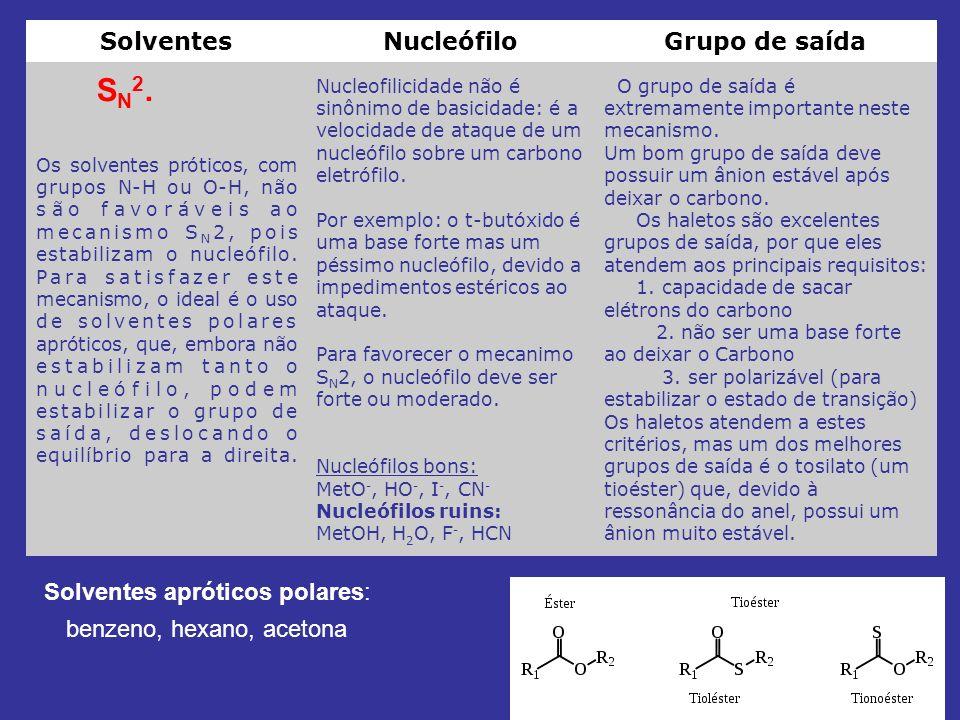 SolventesNucleófiloGrupo de saída Os solventes próticos, com grupos N-H ou O-H, não são favoráveis ao mecanismo S N 2, pois estabilizam o nucleófilo.