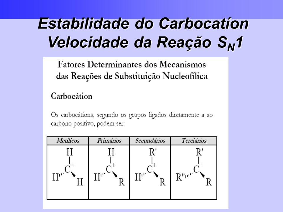 Estabilidade do Carbocatíon Velocidade da Reação S N 1