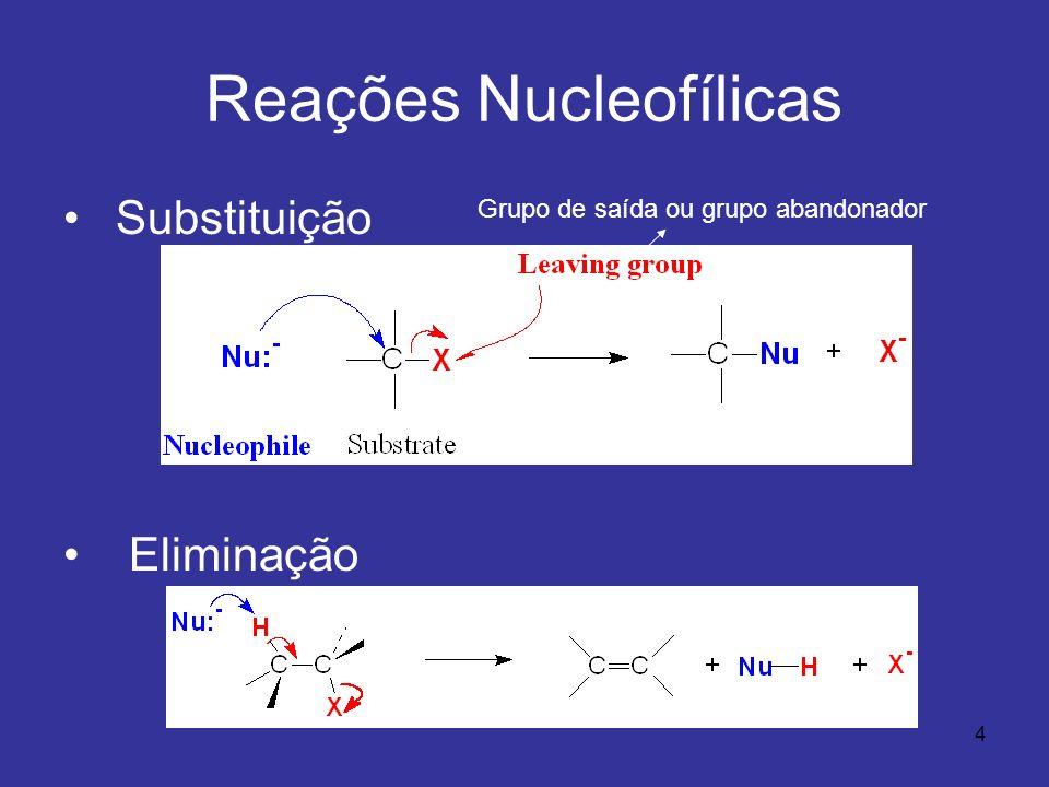 4 Reações Nucleofílicas Substituição Eliminação Grupo de saída ou grupo abandonador