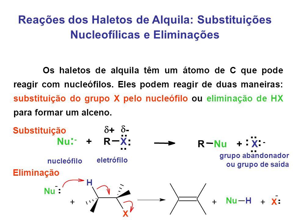Reações dos Haletos de Alquila: Substituições Nucleofílicas e Eliminações Substituição Eliminação Nu + - H X + X - + H Os haletos de alquila têm um át