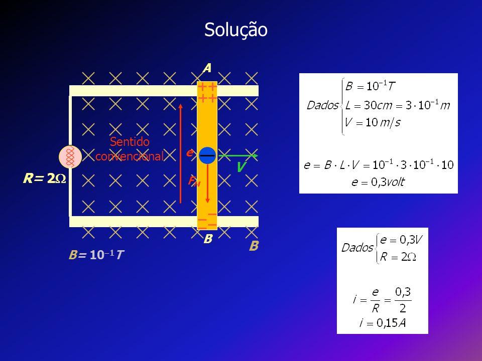 Solução A B V B R= 2 B= 10 1 T e FMFM Sentido convencional