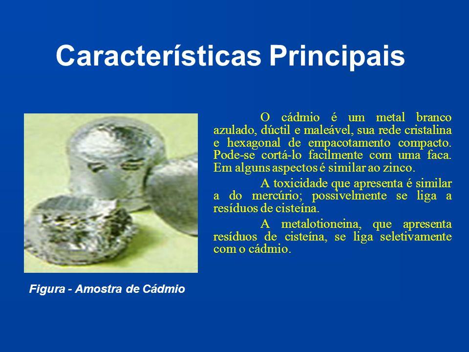 Características Principais O cádmio é um metal branco azulado, dúctil e maleável, sua rede cristalina e hexagonal de empacotamento compacto. Pode-se c
