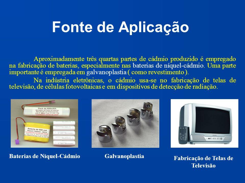 Fonte de Aplicação Aproximadamente três quartas partes de cádmio produzido é empregado na fabricação de baterias, especialmente nas baterias de níquel
