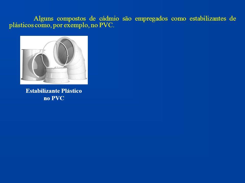 Alguns compostos de cádmio são empregados como estabilizantes de plásticos como, por exemplo, no PVC. Estabilizante Plástico no PVC
