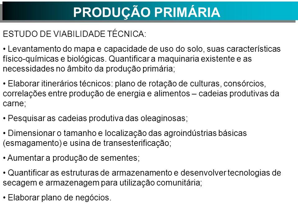 PRODUÇÃO PRIMÁRIA ESTUDO DE VIABILIDADE TÉCNICA: Levantamento do mapa e capacidade de uso do solo, suas características físico-químicas e biológicas.