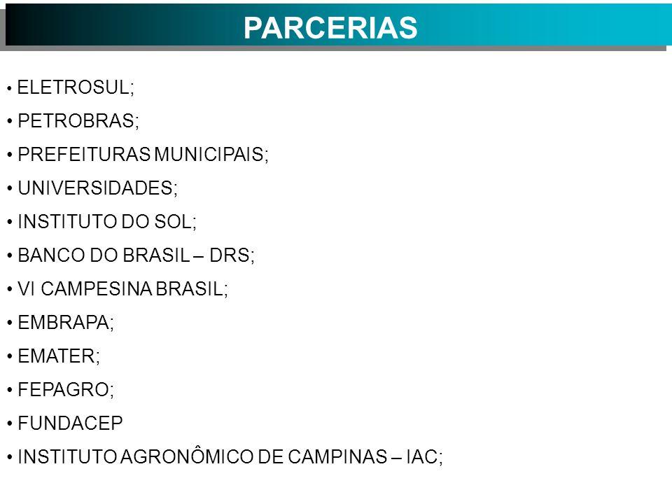 PARCERIAS ELETROSUL; PETROBRAS; PREFEITURAS MUNICIPAIS; UNIVERSIDADES; INSTITUTO DO SOL; BANCO DO BRASIL – DRS; VI CAMPESINA BRASIL; EMBRAPA; EMATER; FEPAGRO; FUNDACEP INSTITUTO AGRONÔMICO DE CAMPINAS – IAC;