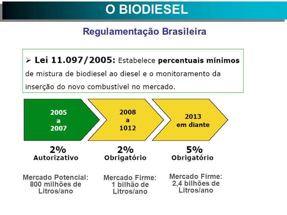 Regulamentação Brasileira Mercado Potencial: 800 milhões de Litros/ano Mercado Firme: 1 bilhão de Litros/ano Mercado Firme: 2,4 bilhões de Litros/ano O BIODIESEL